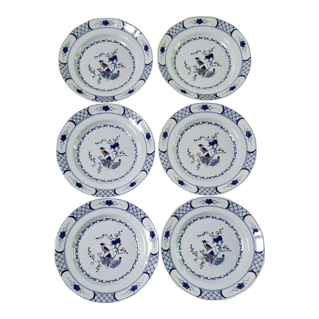 Wedgwood Volendam Pattern China Georgetown Collection Dinner Plates - Set of 6 For Sale