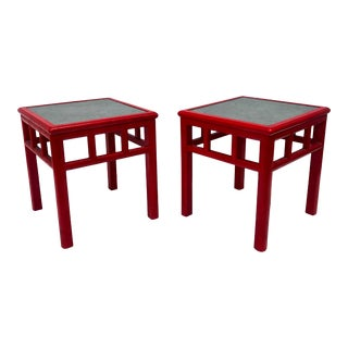 Pair Mid-Century Slate Top Designer End Tables For Sale