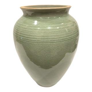 Vintage Thai Celadon Vase, Signed For Sale