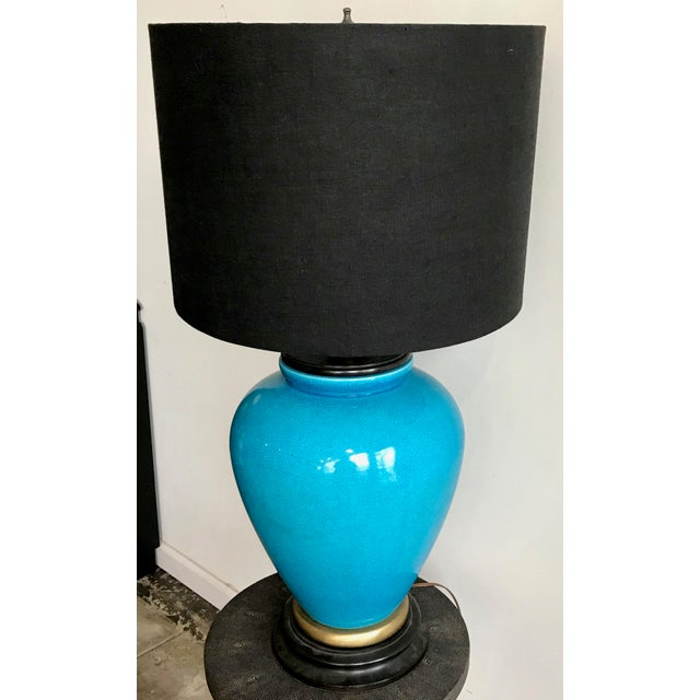 Large Vintage Turquoise Table Lamp For Sale - Image 4 of 6