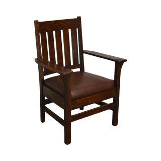 L. & J. G. Stickley Antique Mission Oak Armchair For Sale