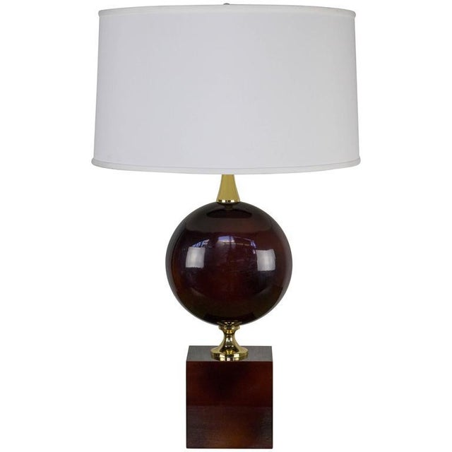 French Aubergine Enameled Table Lamp by Maison Barbier - Image 8 of 8