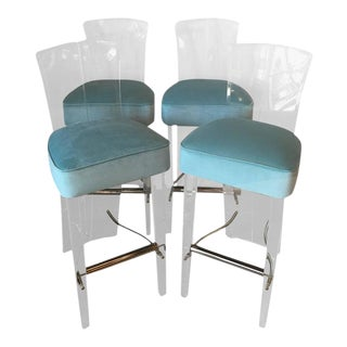 Charles Hollis Jones by Hill Lucite & Brass Barstools Bar Stools - Set of 4 For Sale