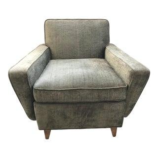 Mid-Century Modern Olive Green Velveteen Upholstered Danish Lounge Chair For Sale