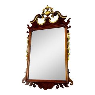 1930s Georgian Mahogany & Satinwood Inlaid Wall Mirror For Sale