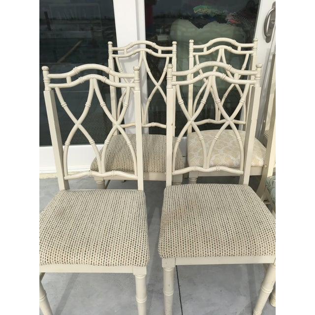 Thomasville Vintage Thomasville Faux Bamboo Chinoiserie Hollywood Regency Chairs - Set of 10 For Sale - Image 4 of 11