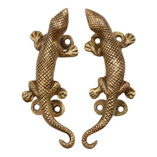 Brass Lizard Door Handles - a Pair For Sale