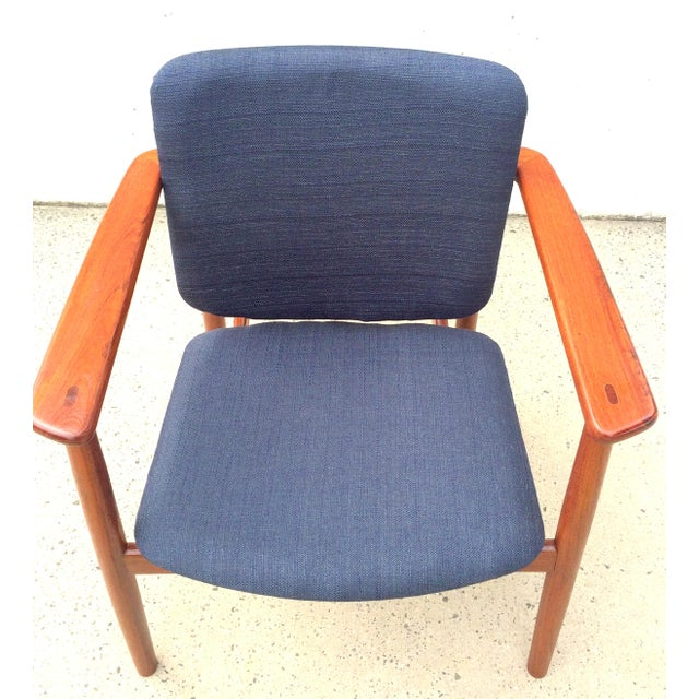 Brass Danish Modern Børge Mogensen Lænestol Armchair in Blue For Sale - Image 7 of 10