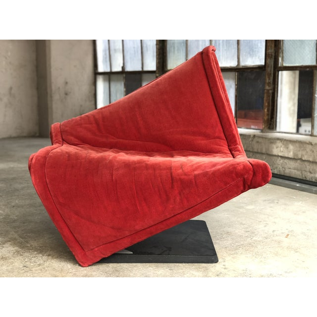 Abstract Flying Carpet Chair by Simon De Santa - Abstract Contemporary Modern Red Suede Velvet Chair For Sale - Image 3 of 11