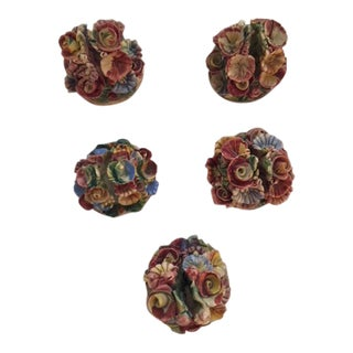 1940s Vintage Italian Porcelain Floral Place Card Holders - Set of 5 For Sale