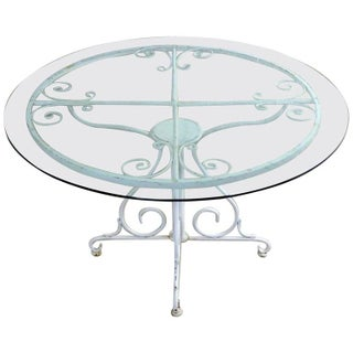 Mid Century Salterini Style Wrought Iron Round Patio Table For Sale