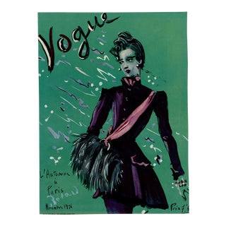 """Vogue Paris, November 1936"" Original Vintage Fashion Magazine Cover For Sale"