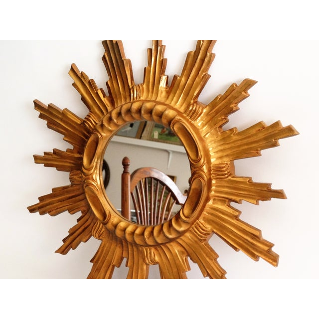 French Mid Century French Giltwood Sunburst Mirror For Sale - Image 3 of 7