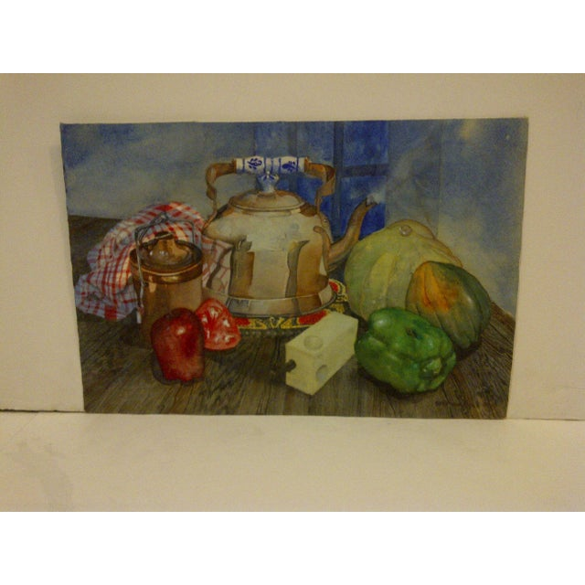 """Here is an original painting on paper titled """"Tea Kettle"""" by Stephen Pole. Circa 1989. The painting is in very good..."""