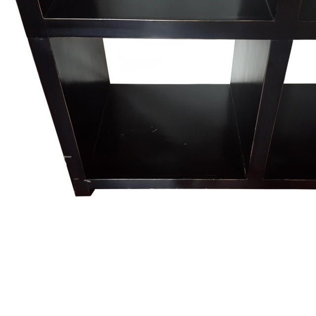 2010s Asian Modern Four Hands Black Lacquered Elm Bookcase For Sale - Image 5 of 11