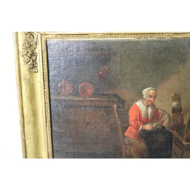 Red 18th Century Flemish Oil Painting on Canvas Woman Who Weaves For Sale - Image 8 of 12