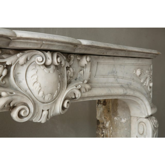 19th Century, Louis XIV Style, Antique Fireplace of Carrara Marble For Sale - Image 9 of 13