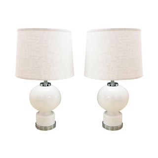 Mid-Century Bulbous White Lamps With Chrome Hardware -a Pair
