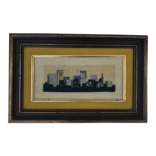 Cityscape Needlepoint Art, Framed For Sale