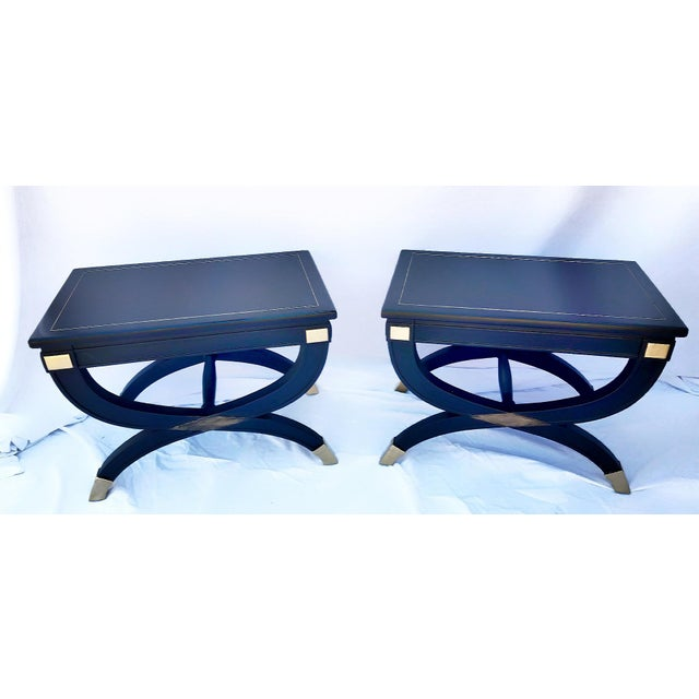1960s Drexel Curule X-Form Inlayed Brass Gilt Benches - a Pair For Sale In Phoenix - Image 6 of 9
