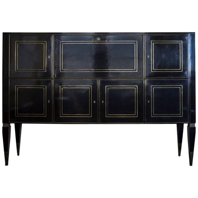 Italian Ebonized Bronze-Inlaid Cabinet on Tapered For Sale - Image 4 of 4