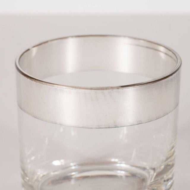 Dorothy Thorpe Four Midcentury Low Ball Glass With Sterling Silver Overlay by Dorothy Thorpe For Sale - Image 4 of 6