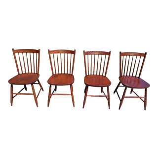 Vintage L. Hitchcock Riverton Solid Cherry Stenciled Dining Chairs- Set of 4 For Sale