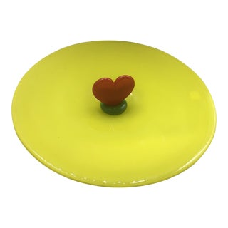 Memphis Style Glass Dish With Heart by Ron Plesl For Sale
