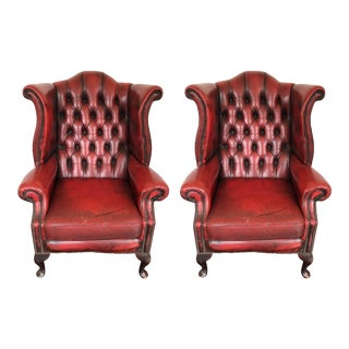 Hand Dyed Red Leather Wingback Chairs - a Pair For Sale
