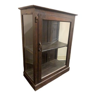 Reclaimed Wood and Glass Medical Cabinet For Sale