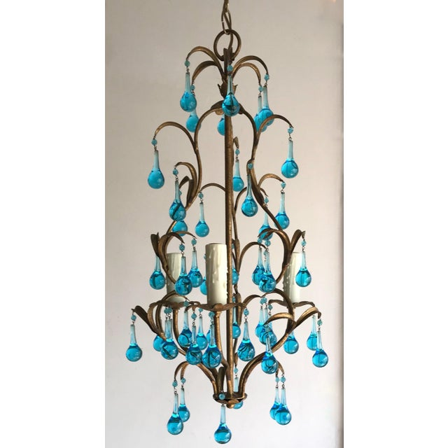 Boho Chic Italian Vintage Gilt Iron Chandelier With Aqua Drops For Sale - Image 3 of 6