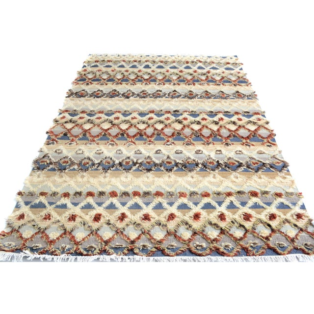 "Moroccan High and Low Arya Moshe Ivory & Rust Wool Rug - 5'5"" X 8'3"" For Sale - Image 4 of 7"