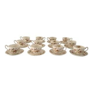 Vintage English Porcelain Myott Heritage Teacups & Saucers - Set of 12 For Sale