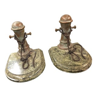 Pair Nautical Theme Bookends Marble Base