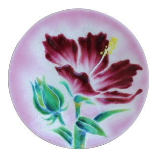 Hibiscus Bloom Enameled Copper Dish For Sale