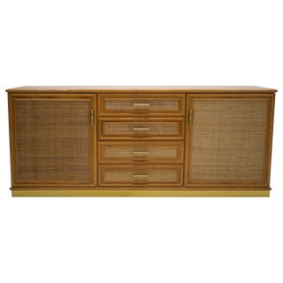 French Mid Century Brass and Bamboo Sideboard, 1970s For Sale