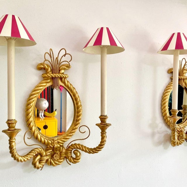 Amazing pair of custom built 1980s gold rope mirror wall sconces light fixtures. These are all original, down to the...
