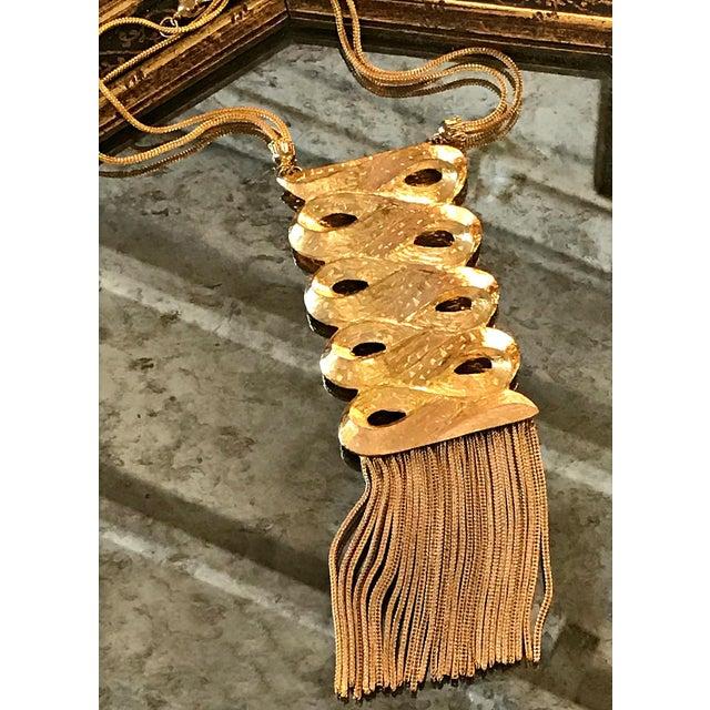 Metal Vintage 1960s Gold Medallion Pendant Dangles Fringe Sandor Large Statement Necklace For Sale - Image 7 of 7