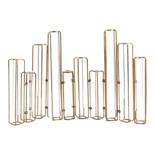 Contemporary Bud Vase Metal Vermeil Glass Tubes Modern Flowers Table Decor Accessory - Set of 11 For Sale