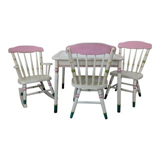 Vintage Hand Painted Petite Child's Dining Set