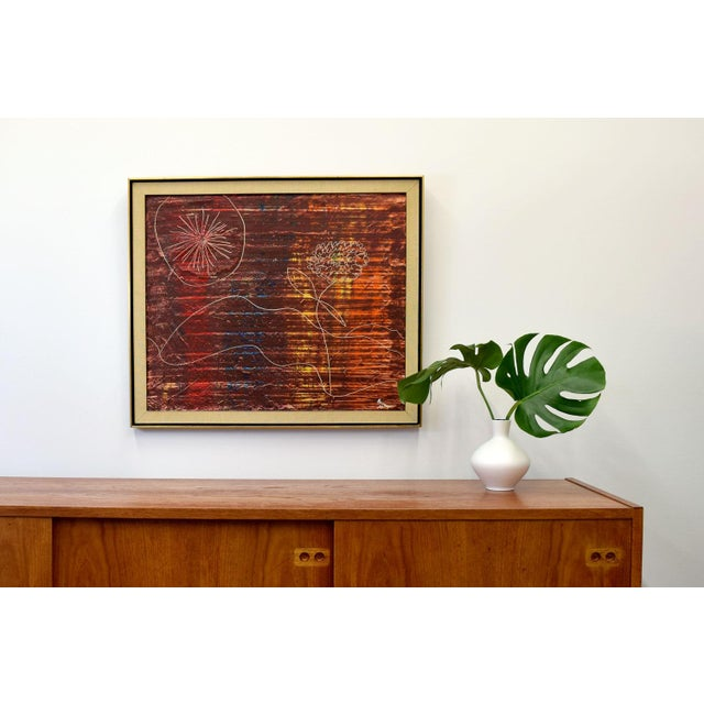 Mid-Century Modern Original Signed 1966 Modernist Painting by Bennett For Sale - Image 3 of 5