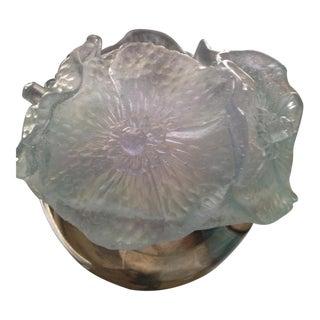 Daum France Amethyst Color Crystal Flower Candleholder