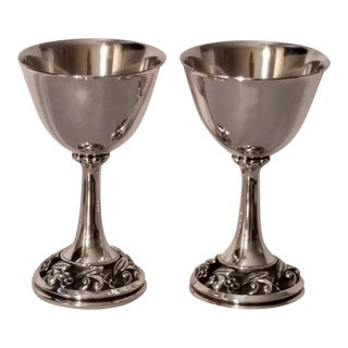 1940s La Paglia for International Silver Modernist Sterling Silver Goblets-a Pair For Sale