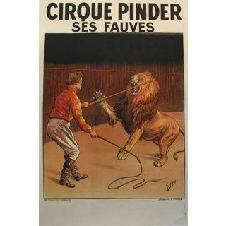 1900s Vintage French Circus Poster - Cirque Pinder - Lion Tamer - G. Soury For Sale