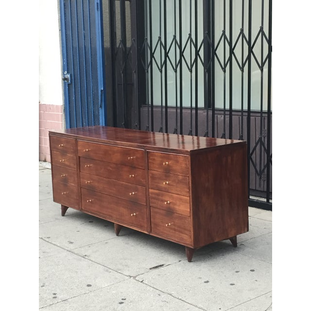 Mid Century Lowboy With Dotted Brass Knobs For Sale - Image 4 of 13