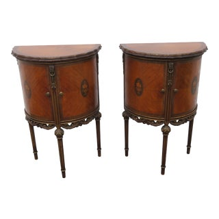 French Inlay Bronze Accent Tall Demilune Pair Nightstands Side End Tables For Sale