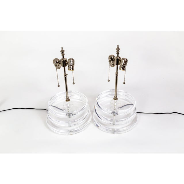 Late 20th Century Stacked Lucite Disk Lamps - a Pair For Sale - Image 5 of 7