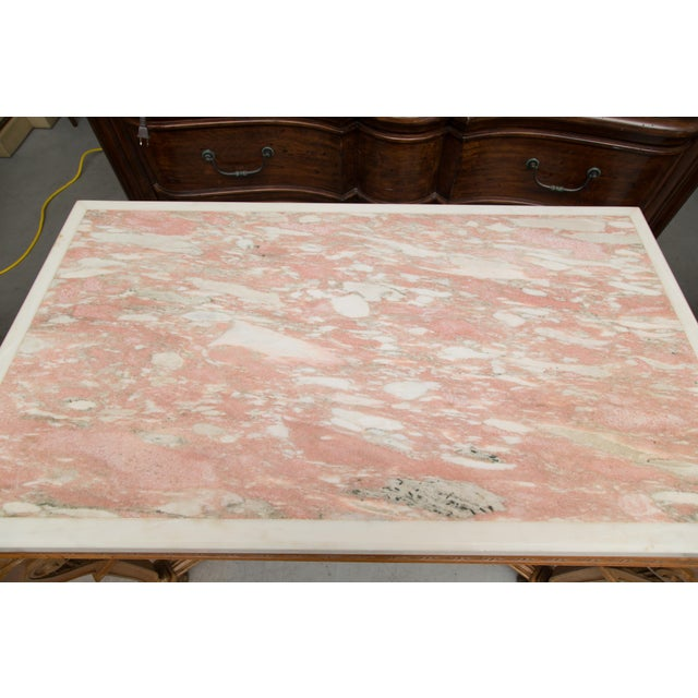 Italian Beechwood Console / Center Table With Marble Top For Sale - Image 11 of 13