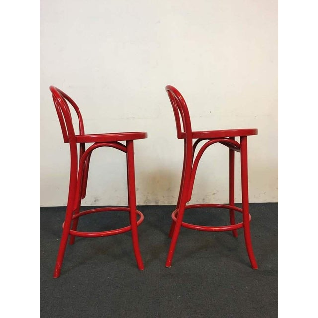 Contemporary Red Metal Bar Stools - A Pair - Image 4 of 6