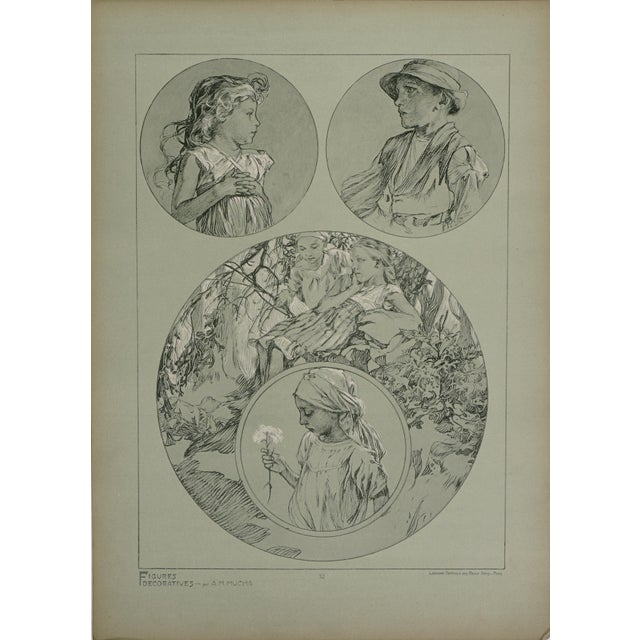 Art Nouveau 1900s Vintage Alphonse Mucha Poster For Sale - Image 3 of 7